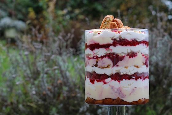 raspberry almond trifle
