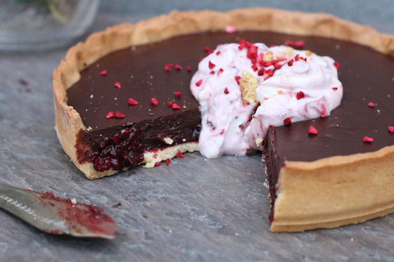 chocolate and blackberry tart